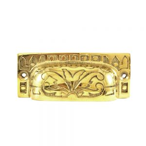 Gold Rectangular Etched Brass Cup Pull