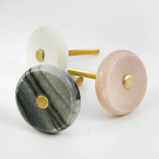 Round White Marble and Brass Knob